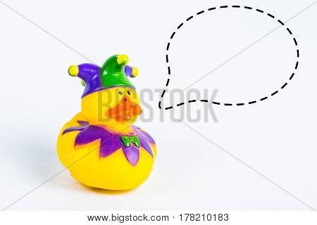 bath duck with with callout symbol on white background,duck toy,Cute yellow rubber duck