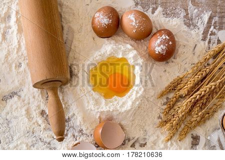 Cooking concept. Basic baking ingredients and kitchen tools background