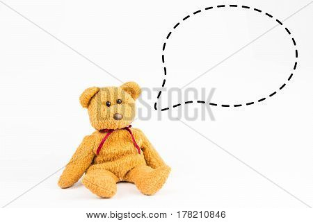 teddy bear with callout symbol on white background