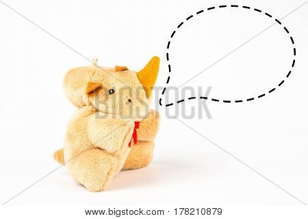 Rhinoceros doll with callout symbol on white background