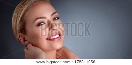 Happiness middle age woman enjoying in her skin