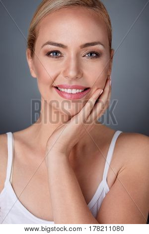 Nice maturity woman with perfect fresh skin, natural beauty