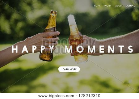 Happy Moment Cheers Outdoor Background