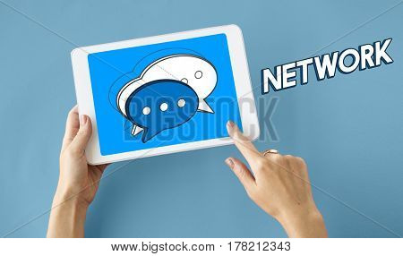 Tablet Chat Bubble Message Social Media Graphic