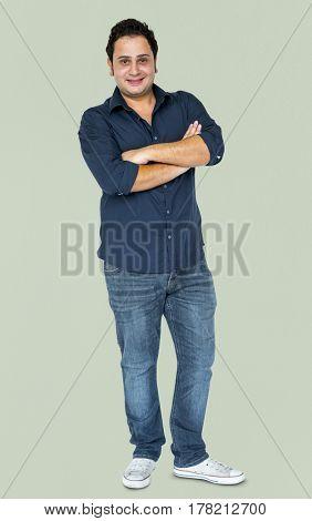 Adult Man Gesture Stand Studio Portrait