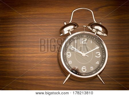 Alarm Clock On Wooden Background, stock photo