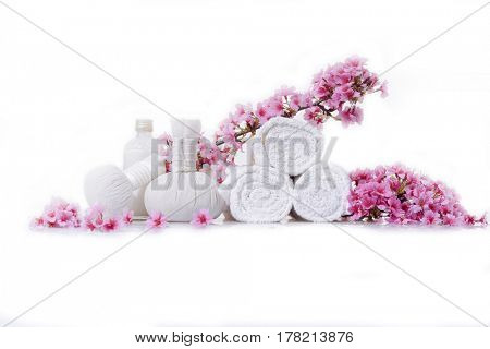 herbal ball, pink cherry on rolled towel isolated