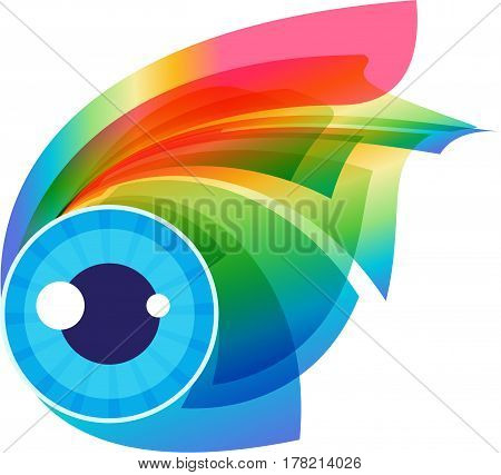 Abstract colorful expressive eye visage isolated on white background
