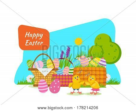 Two chicks frolic and have fun next to the Easter basket, against the backdrop of beautiful surroundings. Vector illustration. Can be used in banners, invitation, postcards, poster.