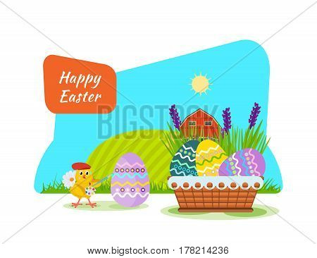 A nestling in the background of beautiful nature, painting Easter eggs with a brush and paint, next is a festive basket. Vector illustration. Can be used in banners, invitation, postcards, poster.