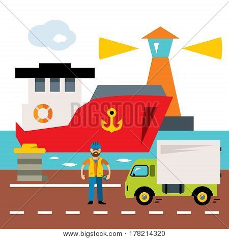 Lighthouse, ship, truck, worker. Isolated on a white background