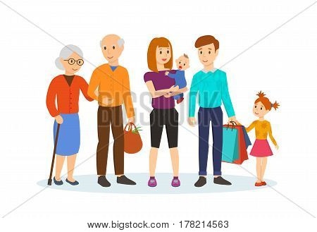 Family shopping concept. A young family with young children is walking along the shopping center next to old grandparents. Vector illustration isolated in cartoon style.