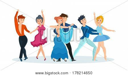 Young couples dance modern types of dances: passionate tango, gentle waltz and beautiful ballet production. Vector illustration isolated in cartoon style.