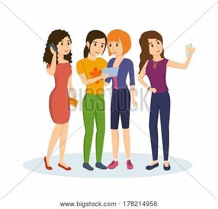 Friends share information and memories with each other after their travels and events that happened in life. Vector illustration isolated in cartoon style.