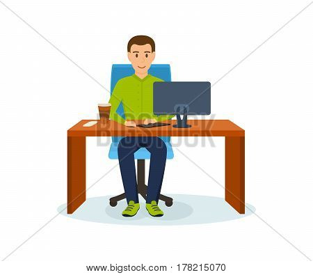 The guy in the office, working at his computer on the project, at a table sipping coffee. Vector illustration isolated in cartoon style.