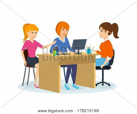 Group of office workers. Colleagues of girl, discussing joint partnership project, gathered at table, express their opinions and suggestions in teamwork. Vector illustration isolated in cartoon style.