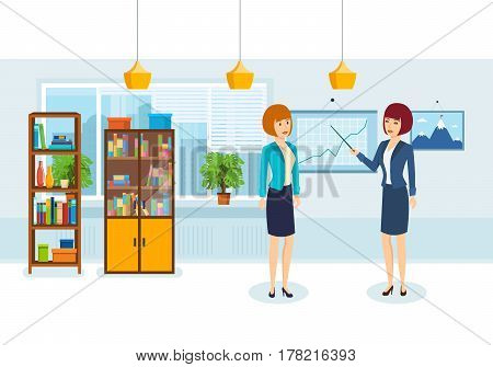 Group of office workers. Colleagues discuss financial situation of company, based on analysis, statistics and graphics depicted at presentation stand. Vector illustration isolated in cartoon style.