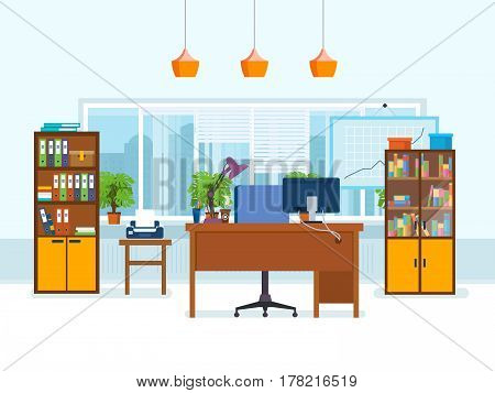 Office workplace with table, cupboard, office equipment and a panoramic window with view of the city streets. Vector illustration isolated in cartoon style.