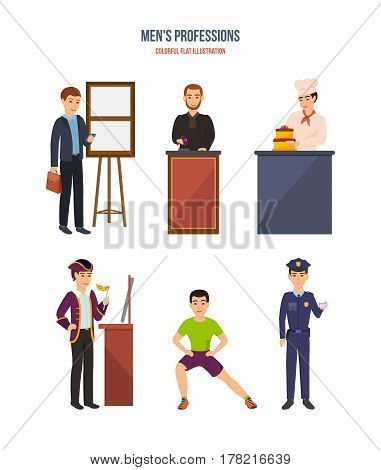 Men professions. Group of people of different occupations: a businessman, a judge, a cook, an actor of the theater, a fitness trainer, a police officer. Vector illustration isolated in cartoon style.