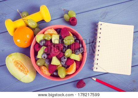 Vintage Photo, Fruit Salad, Dumbbells And Notepad For Writing Notes, Healthy Lifestyle And Nutrition