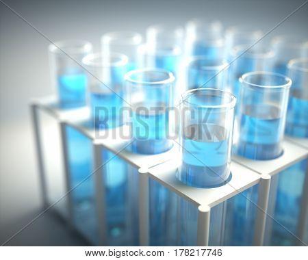 3D illustration. Test tubes filled with blue chemistry.