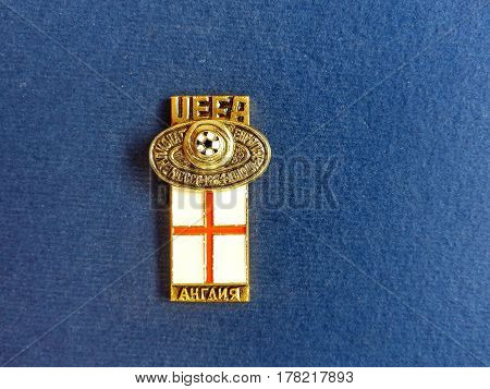 USSR - CIRCA 1984: Badge with the image ball and flag England, the inscription
