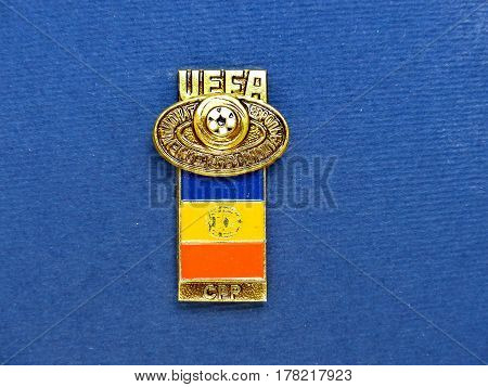 USSR - CIRCA 1984: Badge with the image ball and flag Romania, the inscription