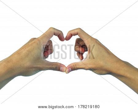 show hand gesture stance. on a white background