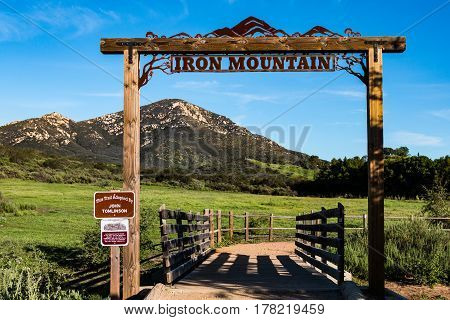 POWAY, CALIFORNIA - MARCH 16, 2017:  Signage at the entrance to the Iron Mountain trail, a looped trail of 5.6 miles of moderate intensity.