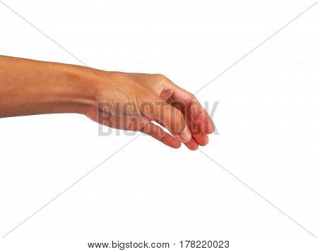 hand gesture is stance on white background