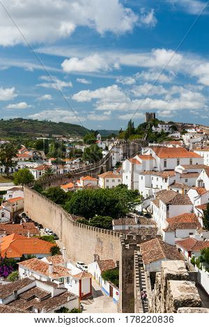 View of Obidos and the surrounding walls
