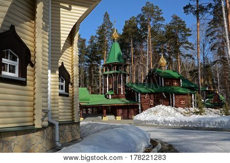 Wooden Russian Orthodox Christian Church of Holy Royal Martyrs in Ganina Yama Monastery on early Spring, Ekaterinburg, Russia.