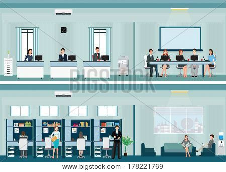 Office worker with office desk and Business meeting or teamwork brainstorming in flat style vector illustration.