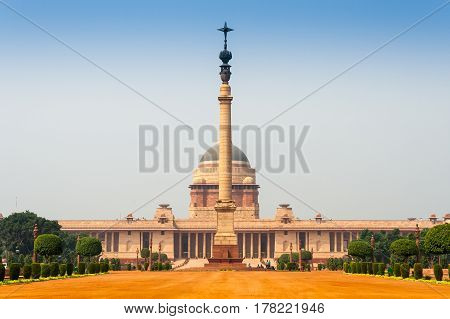 Rashtrapati Bhavan is the official home of the President of India located at the Western end of Rajpath in New Delhi India.