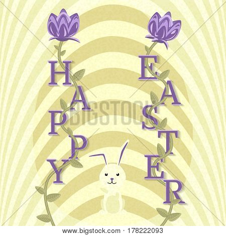 Happy Easter greeting card. Religious holiday in April. International celebration. Vector background with flowers and little rabbit. Textured illustration in flat style.