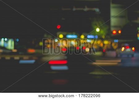 Blur image of car light and traffic in the city for abstract background