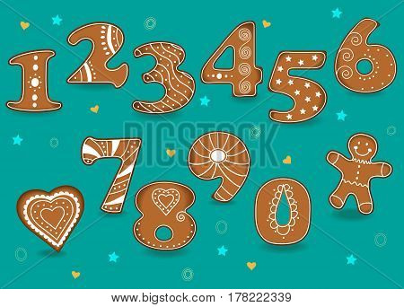 Ginger Cookies Numbers. Brown Symbols with white cream decor. Heart and Man. Vector Illustration