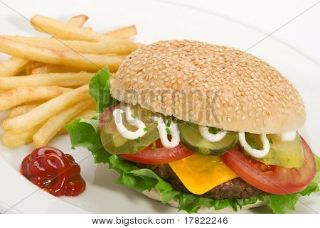 Close up image of a hamburger and french fries