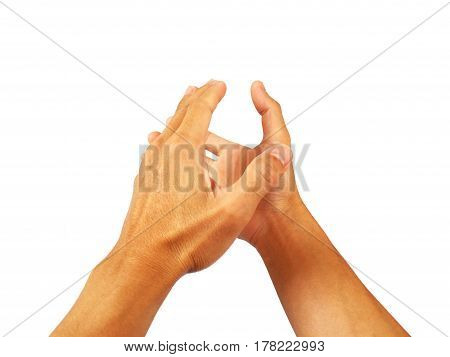 show hand gesture finger  on white background.