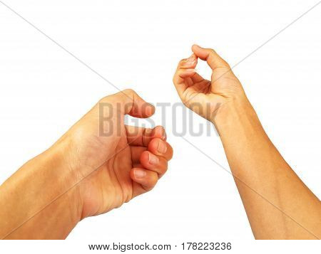 show hand is gesture  on white background.