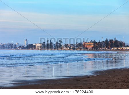 Town of Essaouira in Morocco, view from the beach.