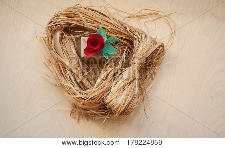 Gift And Red Paper Flowers