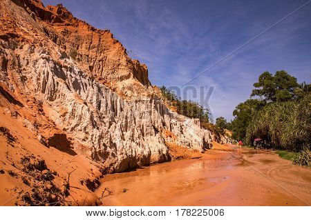 Colorful sandstone rock formations in Mui Ne. Fairy Spring Vietnam Mui Ne
