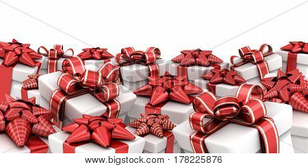 Many gifts and white background. 3d illustration
