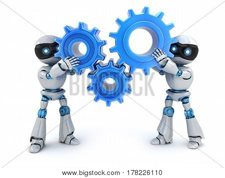 Two robot and blue gears. 3d illustration