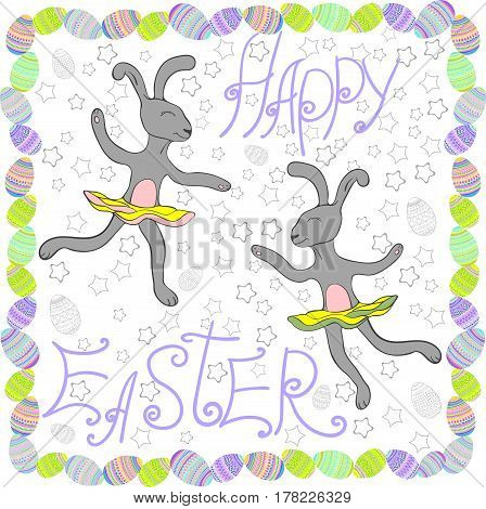 Easter rabbits with Easter eggs and banners.