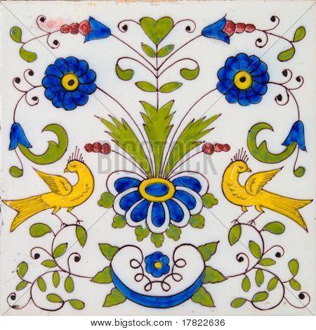 An antique Dutch Delft polychrome tin glazed tile dating circa 1800