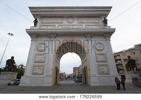 Skopje, Macedonia, march 20, 2017: Triumphal arch in the city center of Skopje, Macedonia