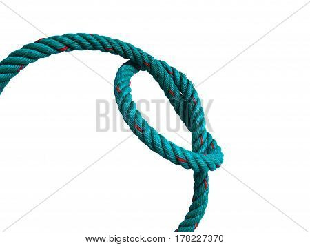 Rope with a knot, tied the knot. on a white background.