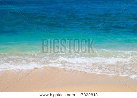 Gentle waves breaking at the shore, Portugal, Algarve region, Praia da Marinha